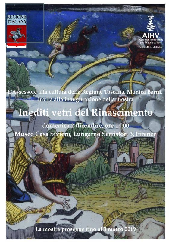 Inediti vetri del Rinascimento, Firenze, Museo Casa Rodolfo Siviero, Lungarno Serristori 3, dal 2 dicembre 2018 al 3 marzo 2019. Mostra a cura di Silvia Ciappi e Attilio Tori